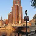 Riverwalk And Lamp Post by Anita Burgermeister