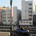 Riverwalk Couple On Bench by Anita Burgermeister