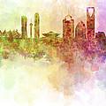Riyadh Skyline In Watercolour Background  by Pablo Romero