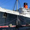 Rms Queen Mary And Submarine by Jeff Lowe