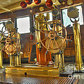 Rms Queen Mary Bridge Well-polished Brass Annunciator Controls And Steering Wheels by David Zanzinger