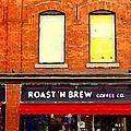 Roast N Brew Coffee Shop Restaurant The Glebe Storefronts Old Ottawa South Paintings C Spandau  by Carole Spandau