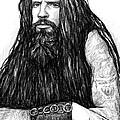 Rob Zombie Art Drawing Sketch Portrait by Kim Wang