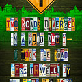Robert Frost The Road Not Taken Poem Recycled License Plate Lettering Art by Design Turnpike