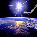 Robot Arm Over Earth With Sunburst  by Chad Rowe