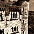 Rocamadour Stone Tower Vertical Panorama Sepia by Weston Westmoreland