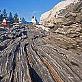 Rock Formations At Pemaquid Point Light by Frank Tozier