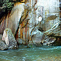 Rock Wall And River by Duane McCullough