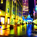 Rockefeller Center Christmas Trees - Holiday And Christmas Card by Miriam Danar