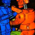 Rockem Sockem Robots - Color Sketch Style - Version 3 by Wingsdomain Art and Photography