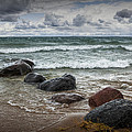 Rocks And Waves At Wilderness Park In Sturgeon Bay by Randall Nyhof