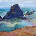 Rocks Heading North - Scenic Landscape Seascape Painting by Quin Sweetman
