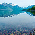Rocky Mountain And Rocky Bottom Reflection In Lake Mcdonald In Glacier National Park-montana by Ruth Hager