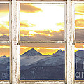 Rocky Mountain Sunset White Rustic Farm House Window View by James BO Insogna