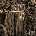 Rocky Waterfall Black And White by Michael Waters