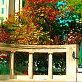 Roddick Gates Mcgill Campus Sherbrook Street Bus Autumn Downtown Montreal City Scenes Carole Spandau by Carole Spandau