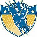 Rodeo Cowboy Riding Bucking Bull Stars Shield Retro by Aloysius Patrimonio