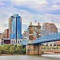 Roebling Bridge And Downtown Cincinnati 9850 by Jack Schultz