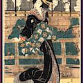Roka No Geigi, Entertainer Standing On A Veranda by Kikukawa, Eizan (1787-1867), Japanese