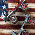 Rollar Skates With Wooden Flag by Garry Gay