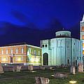Roman Forum And St Donatus Church At Night Zadar Croatia by Ivan Pendjakov