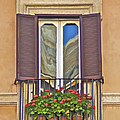 Romantic Balcony With Red Flowers In Rome by David Letts