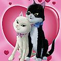 Romantic Cartoon Cats On Valentine Heart  by Martin Davey