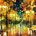 Romantic Lights - Palette Knife Oil Painting On Canvas By Leonid Afremov by Leonid Afremov