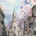 Romantic Montreal Canada - Watercolor Pencil by Peter Potter