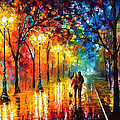 Romantic Stroll - Palette Knlfe Oil Painting On Canvas By Leonid Afremov by Leonid Afremov