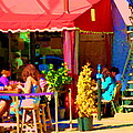 Romantic Terrace Dinner Date Piazzetta Bistro Rue St Denis French Cafe Street Scene Carole Spandau  by Carole Spandau