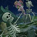 Romantic Valentine Skeletons In Graveyard by Martin Davey
