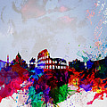 Rome Watercolor Skyline by Naxart Studio