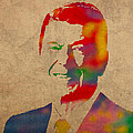 Ronald Reagan Watercolor Portrait on Worn Distressed Canvas by Design Turnpike