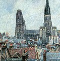 Roofs Of Old Rouen Grey Weather  by Camille Pissarro