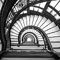 Rookery Building Oriel Staircase - Black And White by Anthony Doudt