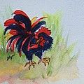 Rooster - Red And Black Rooster by Ellen Levinson