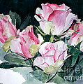 Watercolor Of A Pink Rose Bouquet Celebrating Ezio Pinza by Greta Corens
