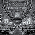 Rose Main Reading Room At The Nypl Bw by Susan Candelario