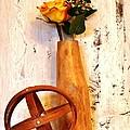 Rose Sphere And Mango Wood Vase by Marsha Heiken