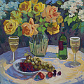 Roses And Chardonnay by Diane McClary