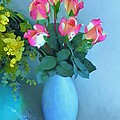 Roses And Flowers In A Vase by Susanna Katherine