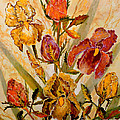 Roses And Irises by Lou Ann Bagnall