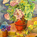Roses And Pansies by Julia Rowntree