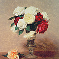 Roses In A Vase With Stem by Ignace Henri Jean Fantin-Latour