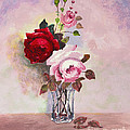Roses In Glass by Chuck Adams