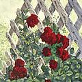Roses On Lattice by Chuck Adams