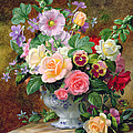 Roses Pansies And Other Flowers In A Vase by Albert Williams