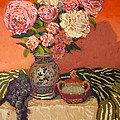 Roses Peonies And Grapes by Monica Caballero