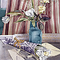 Roses Tulips And Striped Curtains by Julia Rowntree